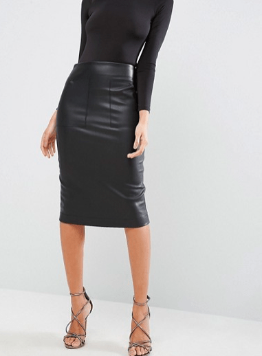 Oasis Leather Wrap Pencil Skirt £80