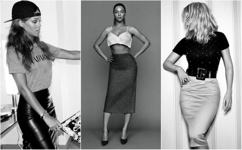 Celebrities, Rihanna and Beyonce wearing pencil skirts
