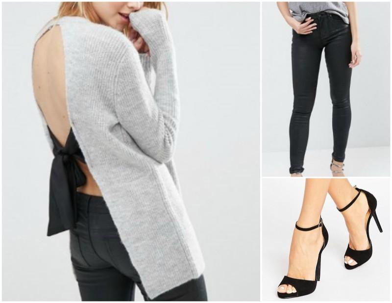 Jumper / Black Jeans / Sandals