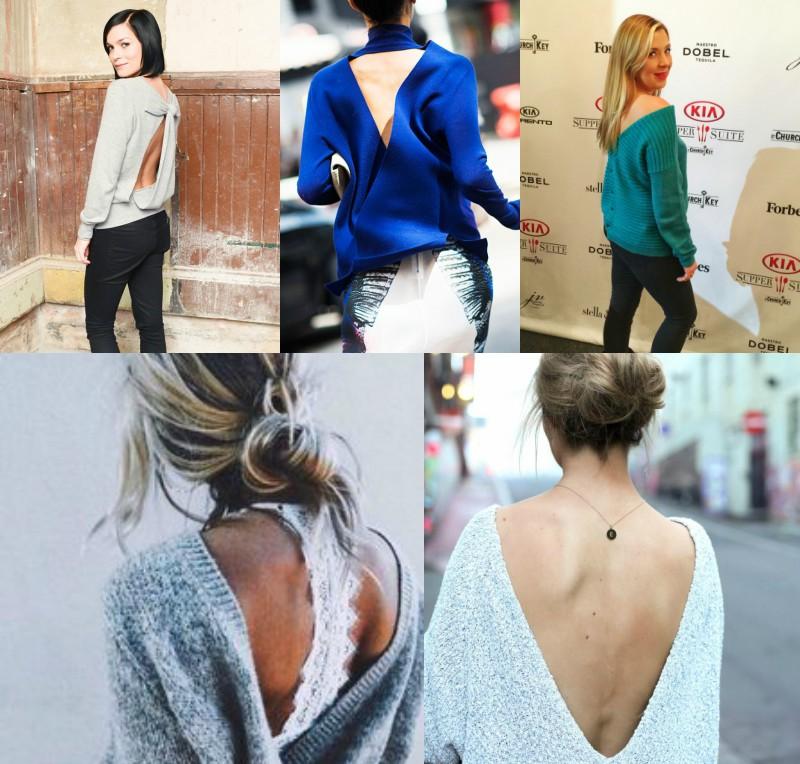 Outfit grid of celeb inspiration wearing backless sweaters