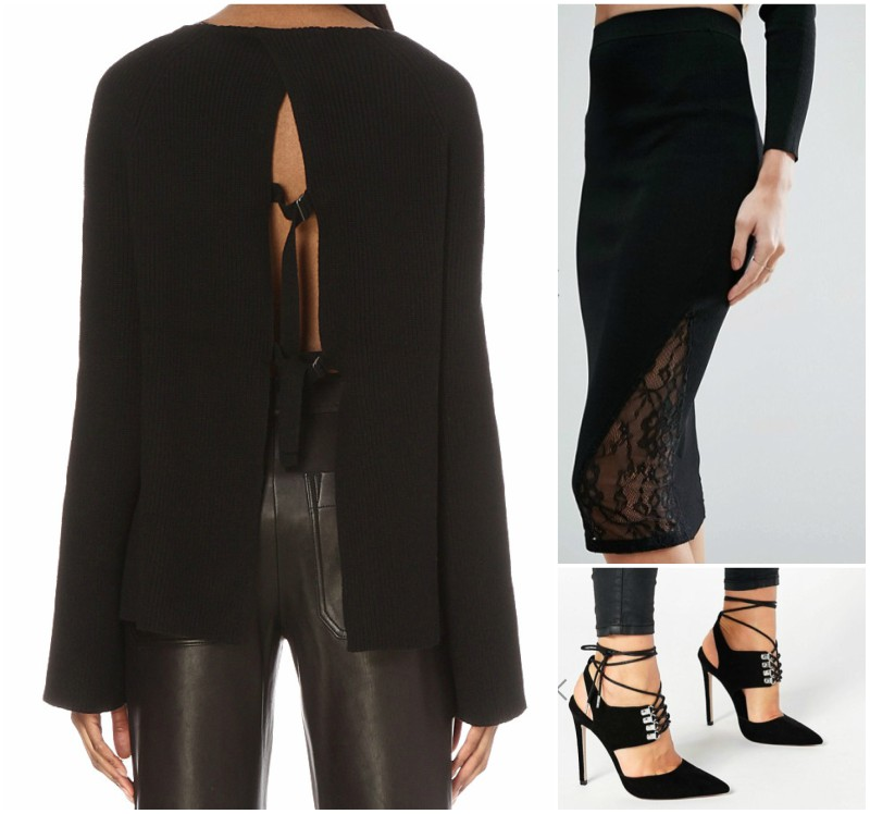 Open-back cotton and cashmere-blend jumper - £330 / River Island Lace Knitted Pencil Skirt - £32 / ASOS PATROL Lace Up Pointed Heels - £42