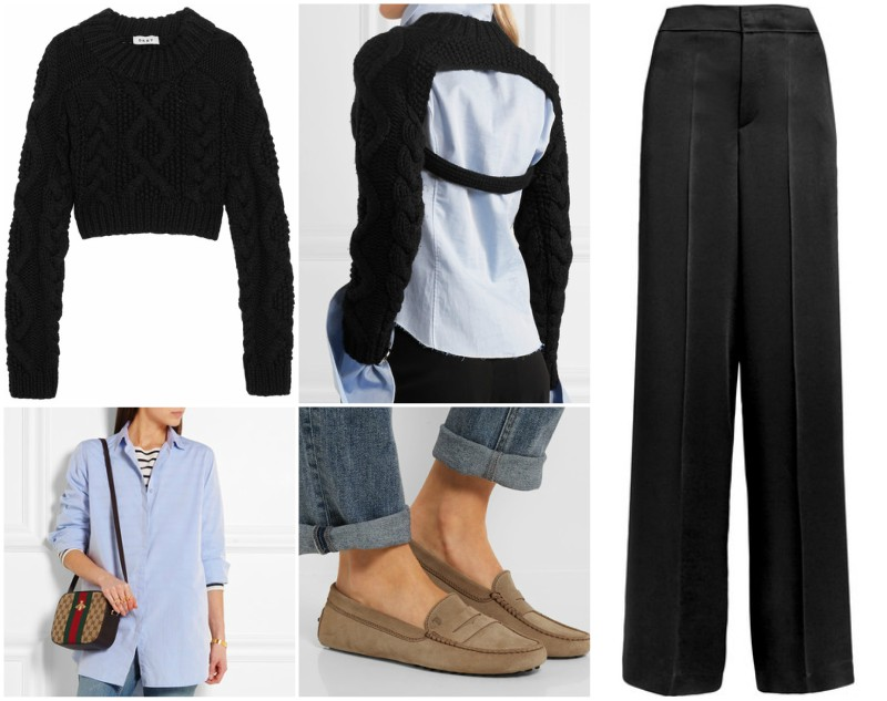 Open-back cable-knit merino wool sweater - £390 / Oversized cotton-poplin shirt - £155 / Ampio crepe de chine wide-leg pants - £380 / Gommino suede loafers - £260