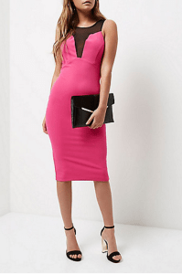 River Island Pink mesh panel bodycon dress £30