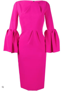 Roksanda Bell Sleeve Dress in Hot Pink £895