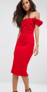 ASOS Fold Detail Bardot Scuba Pencil Dress £48