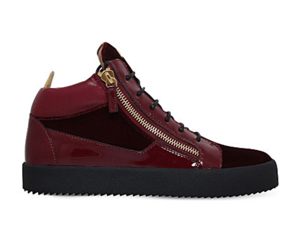 Giuseppe Zanotti Kriss patent-leather and velvet trainers £505