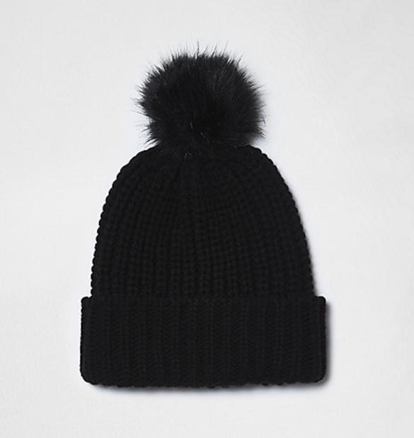Black Knit Bobble Hat at River Island £13.00