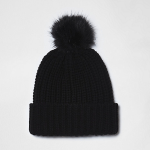 Black Knit Bobble Hat at River Island £13.00