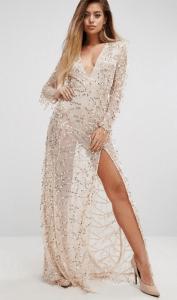 PrettyLittleThing Premium V Neck Sequin Maxi Dress £50