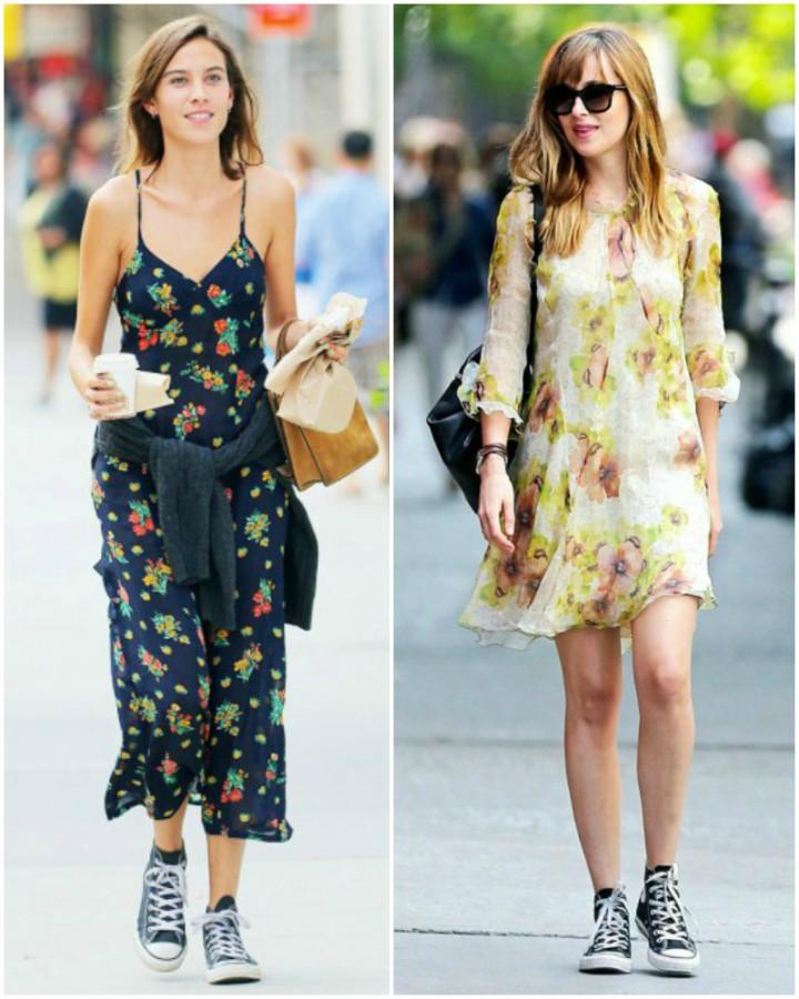 Dakota Johnson and Alexa Chung Summer dresses with converse outfits