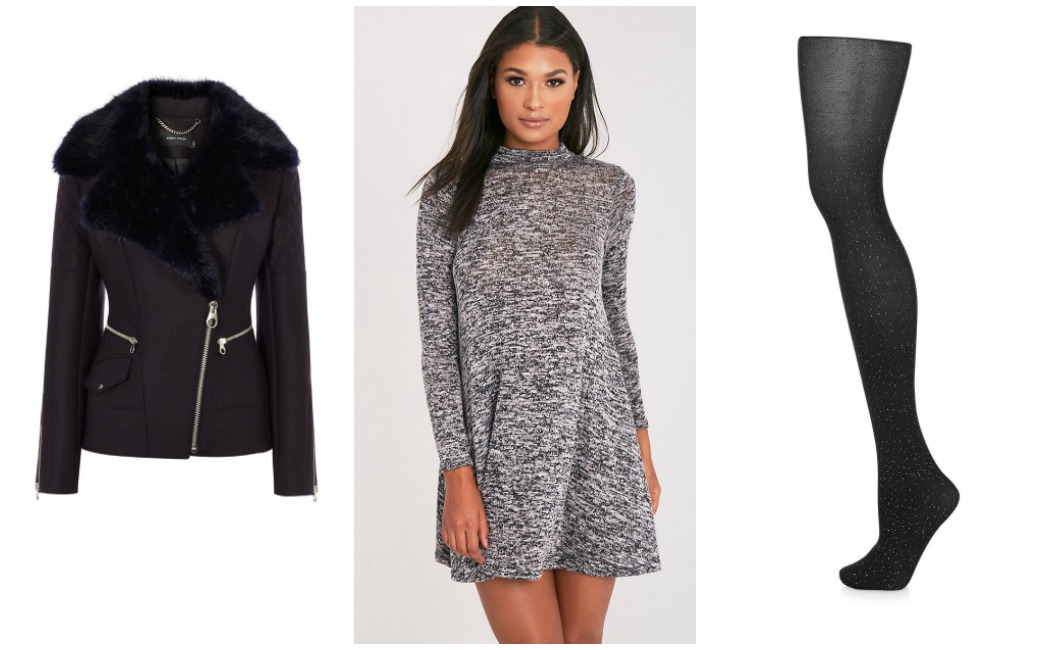 jacket-dress-tights-casual-outfit for New Year's Eve