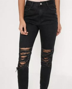 Missguided Black Riot High-rise Shredded Knee Mom Jeans