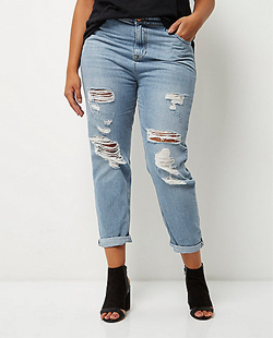 River Island Plus Light Wash Ripped Mom Jeans