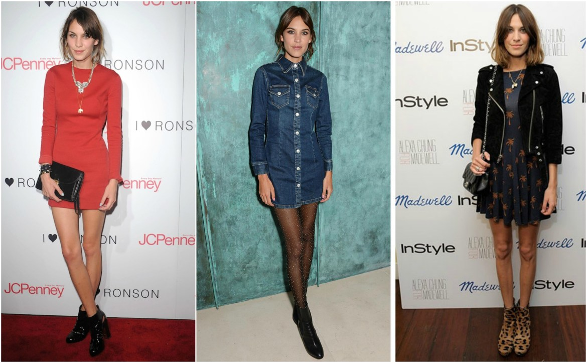Alexa Chung wearing a variety of Chelsea boots