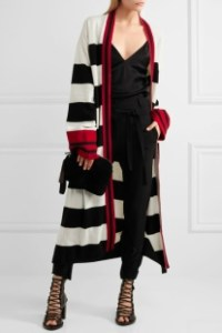Net-a-Porter Haider Ackermann Striped Wool and Cashmere Blend Cardigan