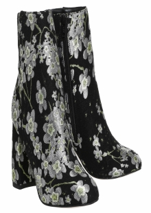 Office Literally High Cut Boot Black Cherry Blossom Embroidery