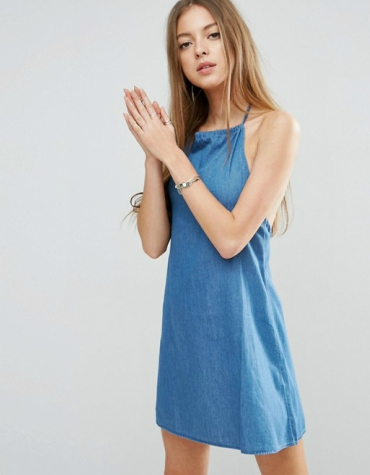 Denim halter neck sundress in mid wash blue
