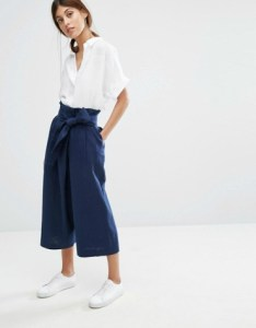 Wrap paper bag waist flared cropped trousers