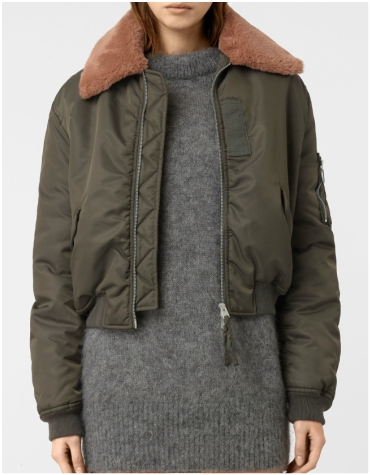 Khaki green cropped bomber jacket with fur trim