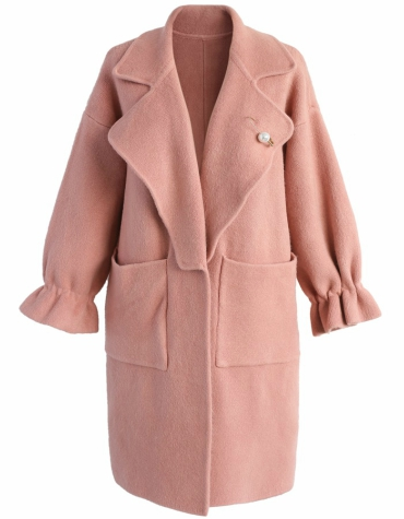Wool-blend coat in pint with elastic cuffs and pockets