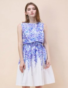 Twinset summer dress with purple and blue flower print