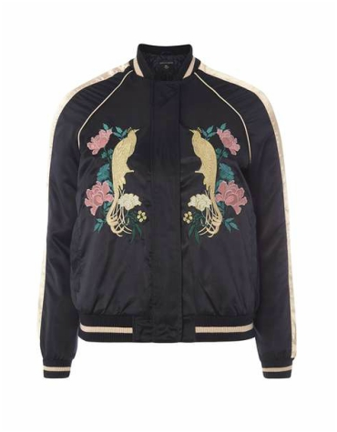 Black bomber jacket with bird and floral embroidery