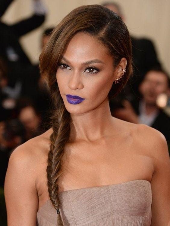 Joan Smalls Bright Lipstick Purple