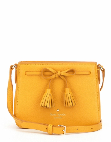 Textured pebble leather cross body bag in yellow