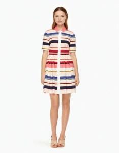 Berber stripe shirt dress with collar