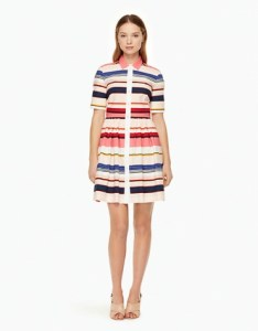 Berber stripe shirt dress with collar