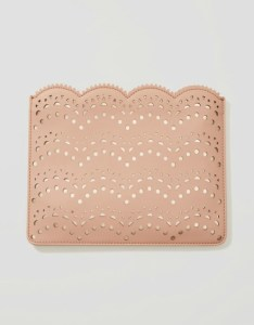 Perforated peach clutch bag with scallop edge