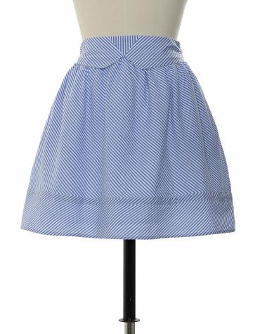 Blue stripe a-line skirt with detailed waistband