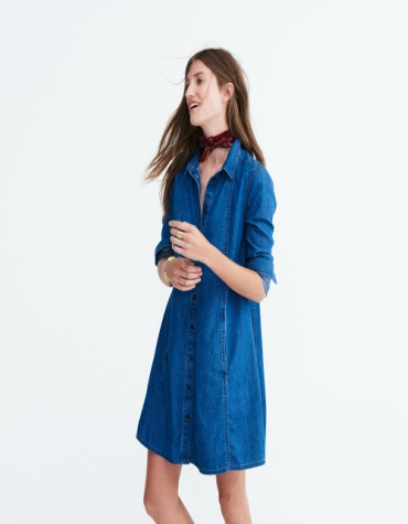 Denim a-line shirt dress in blue