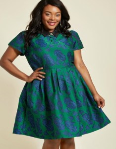 Blue and green patterned skater dress with black collar