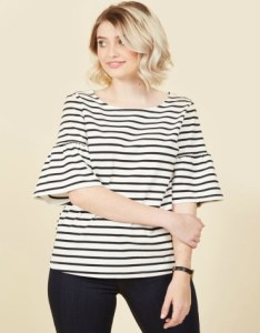 Black and white stripe top with bell sleeves