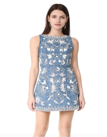 A corded floral pattern mini dress