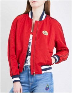 Red bomber jacket with badge detail