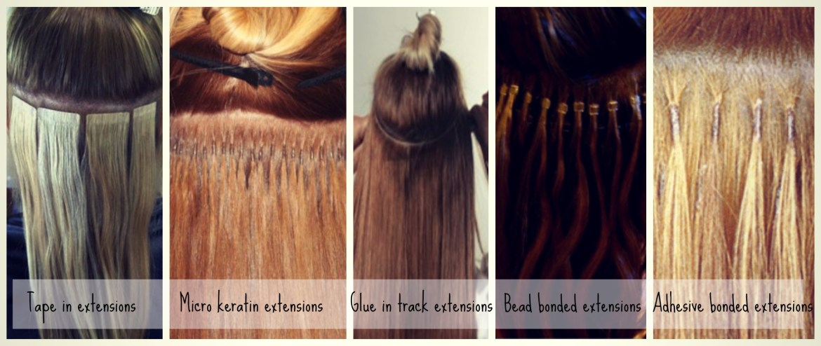 Different types of hair extensions demonstrated: tape in, micro keratin, glue in, bead bonded, and adhesive bonded.