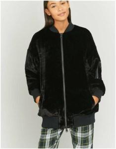 Black longline velvet bomber jacket