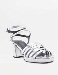 Strappy Silver Heeled Platform Sandals