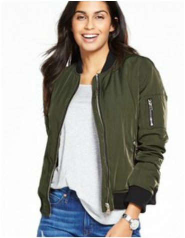 Khaki bomber jacket with fur lining