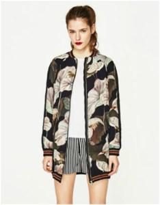 Longline leaf print bomber jacket