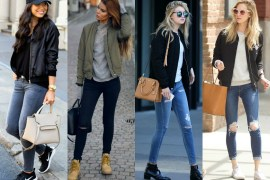 Four celebrity women showcase how to wear bomber jackets, jeans and oversized handbags