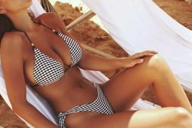 Big busted woman in monochrome bikini