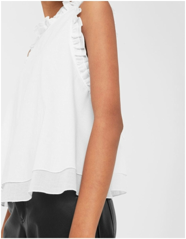 Mango white ruffled cotton sleeveless top