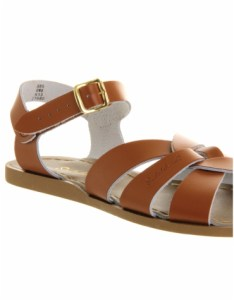 Office tan leather flat sandals with buckle