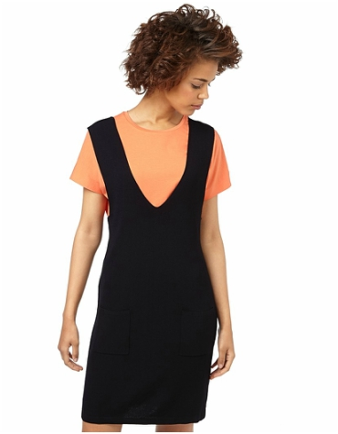 Oliver Bonas black knitted pinafore dress