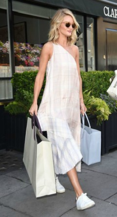 rosie huntington whiteley in a white maxi dress with white sneakers