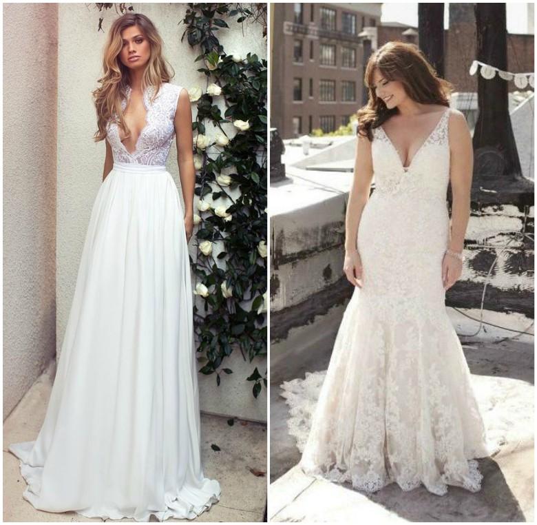 Two women wearing plunge wedding dresses