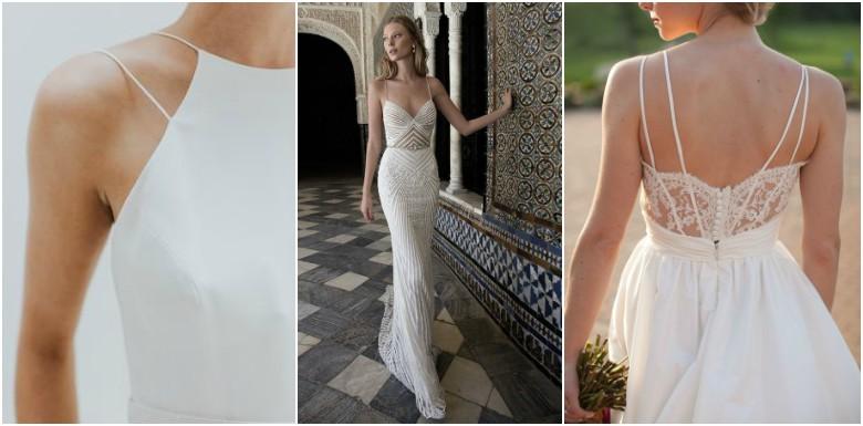 Three women wearing spaghetti strap wedding dresses
